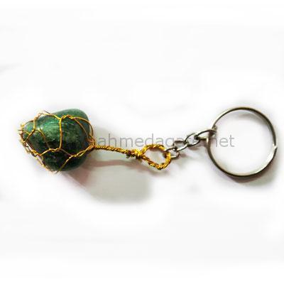 Green Agate Tumbled Keychain
